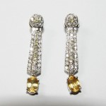 AVANT : des boucles d' oreille citrines, diamants blancs et diamants jaunes, sur or blanc