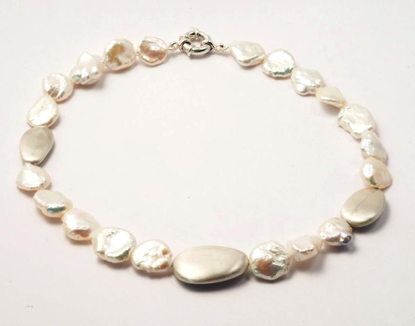 Collier Galet : perles de cultures et galets d'argent