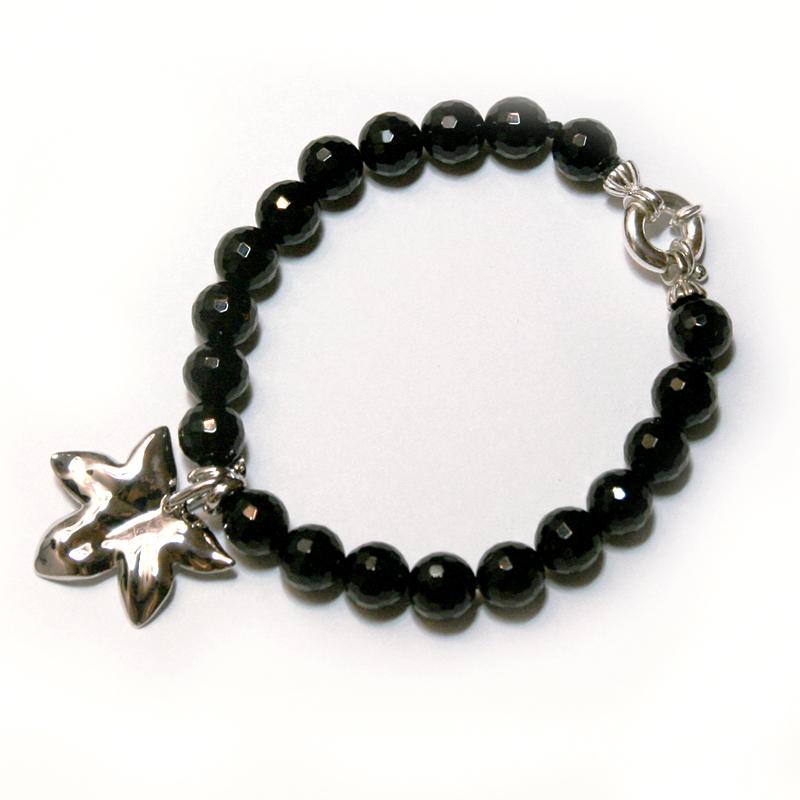Bracelet Feuille : onyx noir et feuille en argent rhodié