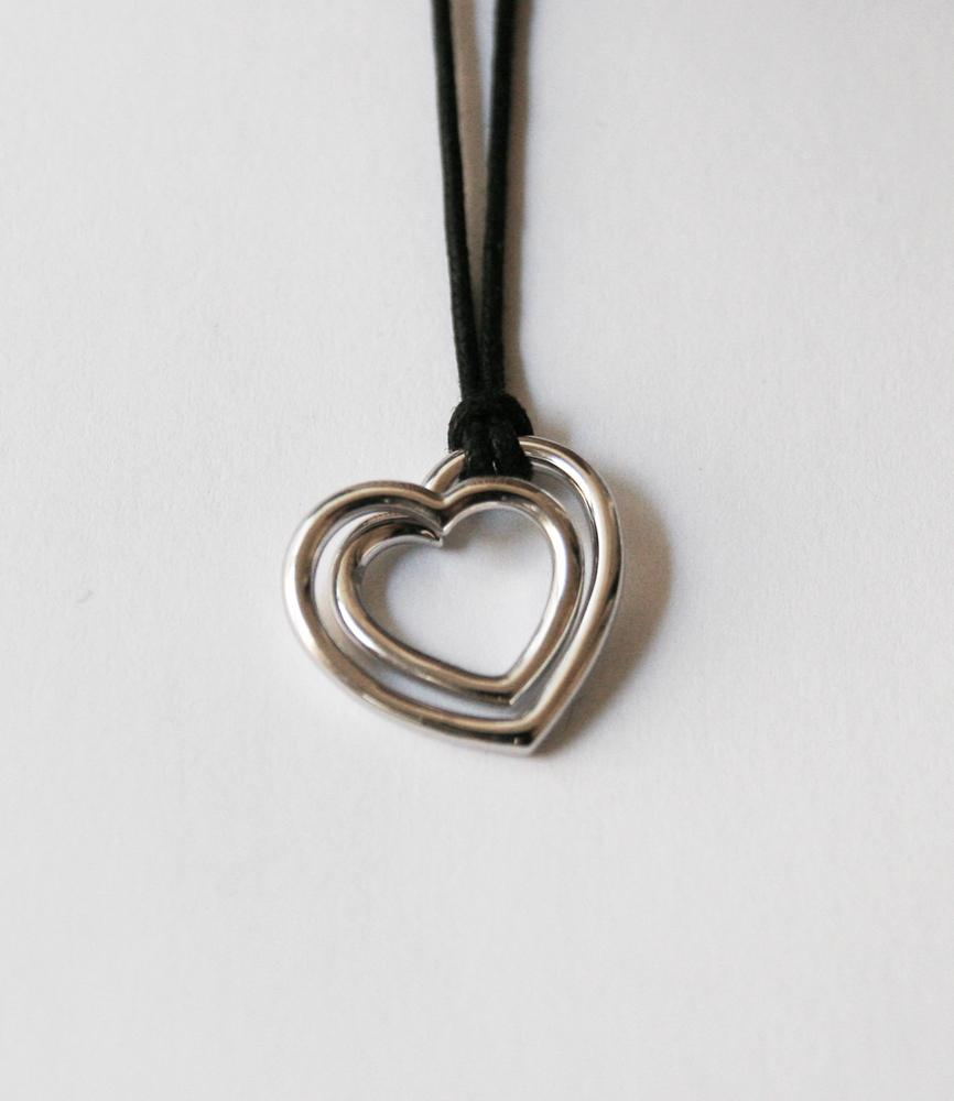 Pendentif coeur monté sur cordon