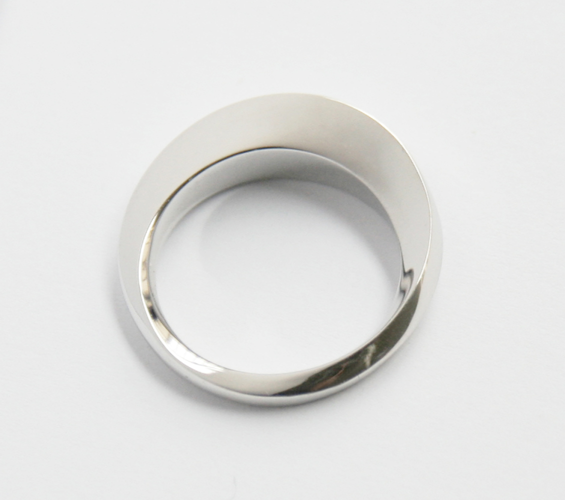 Bague or blanc fintion poli miroir