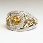 Or jaune, saphir jaune et pavage diamant