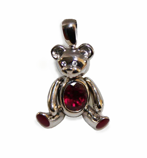 Pendentif ourson or blanc, diamants et tourmalines